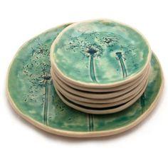 Dandelions set, platter and little plates
