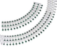 A SUITE OF EMERALD AND DIAMOND JEWELLERY    Comprising a highly flexible lattice-work collar necklace, the front set with five alternating rows of cabochon emeralds and circular-cut diamonds, and a bracelet en suite, mounted in 18k white gold, necklace 34.0 cm, bracelet 16.0 cm