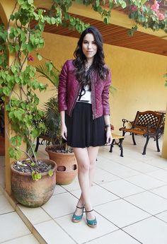 Burgundy jacket + black skirt