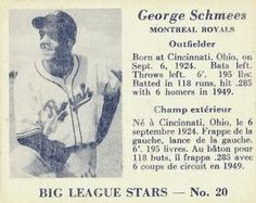 1950 Big League Stars (V362) #20 George Schmees Front