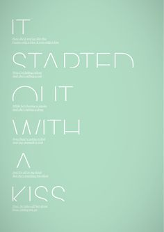 it started with a kiss ///