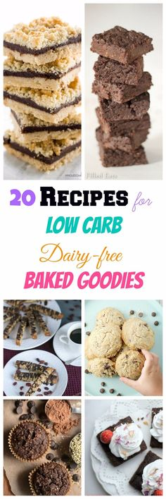 My PCOS Kitchen - 20 Recipes for Low Carb Dairy-free Baked Goodies Ketogenic Desserts, Diabetic Desserts, Sugar Free Desserts, Sugar Free Recipes, Healthy Desserts, Dessert Recipes, Healthy Eats, Ketogenic Diet, Dinner Recipes