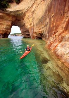 Kayaking along Pictured Rocks National Lakeshore, Upper Peninsula, Michigan. an eight hour day trip along the Pictured Rocks. Breath taking and well worth the money you spend on the experience! I wanna do this! Oh The Places You'll Go, Places To Travel, Places To Visit, Pictured Rocks National Lakeshore, Picture Rocks, Kayaks, Michigan Travel, Michigan Vacations, Upper Peninsula