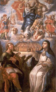 Sor Maria de Jesús y San Juan Evangelista con la Inmaculada