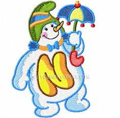 Here's the letter N from Cute Alphabet's Snowman Alphabet.  This embroidery design is free to download today.