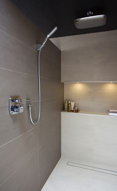Designer wetroom with rainfall shower head. And hand held shower