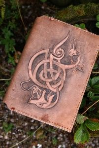 A5 hand carved journal cover - Ceridwen & Taliesin http://www.skyravenwolf.com/index.php