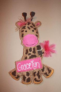 Hospital baby door hanger  giraffe burlap baby by Cutipiethis, $35.00