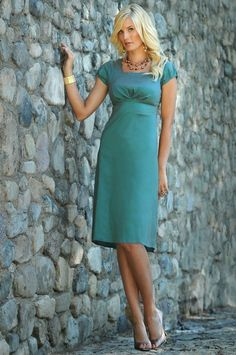 Sabrina Modest Dress, Stretch Taffeta Dress in Antique Turquoise