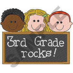 THIRD GRADE ROCKS embroidery design