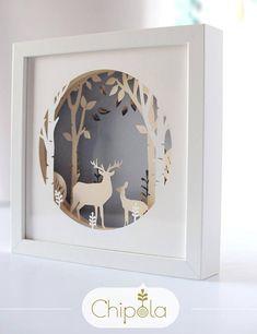 Make your own stunning reindeer paper art. #3dpicture #3dart #shadowbox #layeredart