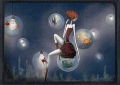 Sibylle Dodinot Illustrations. Digital painting.  L'aquarium.   https://www.etsy.com/fr/shop/sibylledodinot