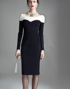 Morpheus Boutique  - Black White Color Block Long Sleeve Celebrity Lady Pencil Banded Dress