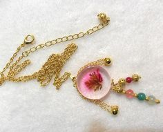 Dry Flower, Natural Quarts, Ruby, Volcano - Handcraft/Pendant/Necklace