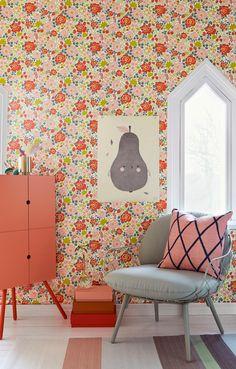 Beautiful Borås wallpaper . { gorgeous coral & grey colourscheme } .