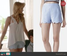 Petra's blue scalloped shorts on Jane the Virgin.  Outfit Details: http://wornontv.net/41790/ #JanetheVirgin