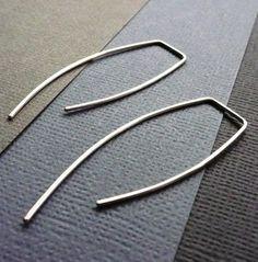 Simple Sterling Silver Earrings. Embrace. Modern Contemporary Sleek Elegant Design. Sterling Silver Jewelry. Handmade by Epheriell on Etsy.