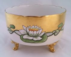 Bernardaud of France, Limoges hand painted porcelain Art Nouveau style footed fruit bowl / jardiniere by tlgvintageart on Etsy