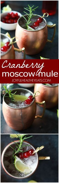 Cranberry Moscow Mule with Rosemary Infused Vodka, you'll love this holiday twist on a classic and so will you're guests! Light, refreshing, and filled with holiday cheer!   joyfulhealthyeats.com #recipes