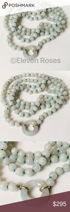 """Sterling Green Jade Bead Necklace W/ Pendant Donut Lite Green Jade Jadeite Knotted Ball Bead Strand Necklace - Donut / Circle Pendant Enhancer Attachment - 925 Sterling Silver Hardware - Hallmarked 925 (along with unknown maker's mark) - Measures Approx 36"""" Long - Pendant / Enhancers Shown As Example & Are Sold Separately -  Preowned / Preloved   May Show Slight Signs Of Having Been Worn.     Listing Images Are Of Actual Item Being Offered Jewelry Necklaces"""