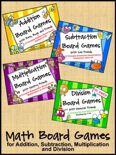 Fun, printable Math Board Games for Addition, Subtraction, Multiplication and… Fourth Grade Math, Second Grade Math, Third Grade, Grade 3, Math Board Games, Math Boards, Math Stations, Math Centers, Math Resources