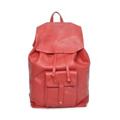 Caxton Leather Backpack in Red | EDDIE