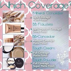Which coverage best suites you? ALL Younique Beauty & Skin Care products are NATURALLY BASED! These concealers are GLUTEN FREE / SOY FREE / PARABEN FREE / LATEX FREE / PABA FREE / BPA FREE. Plus Younique does NOT Test their products on animals! Get your Younique here 100% satisfaction guaranteed! www.DollFaceSisters.com
