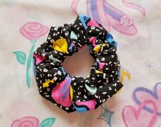 80's scrunchie, 90s hair scrunchies geometric abstract print vaporwave aesthetic fairy kei saved by the bell hair accessory ponytail holder