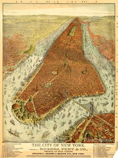 Rogers, Peet & Co. Aerial Map of Manhattan in 1879