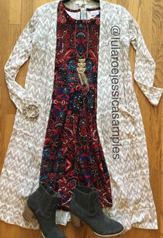 The LuLaRoe Sarah Cardigan is he perfect pairing for this Amelia dress!