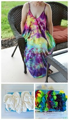 Abstract Tie Dye Dress with Pockets! - Dream a Little Bigger Hippie Party, How To Tie Dye, How To Dye Fabric, Shibori, Tulip Tie Dye, Magenta, Robe Diy, Tie Dye Crafts, Comfy Dresses