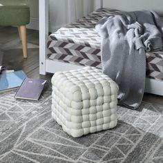 Beige, Merino Wool Blanket, Decoration, Ottoman, Chair, Furniture, Home Decor, Rustic Chic, Square Ottoman