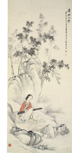Fei Danxu (1802-1850). LADY PLAYING QIN BY THE RIVER. Ink and color on paper, hanging scroll