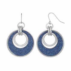 Blue Glittery Link Drop Hoop Earrings (Navy)