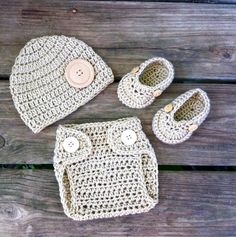 Newborn Baby Boy Crochet TAN Beanie Hat, Diaper Cover With Buttons n Loafers Set -- Cute Photo Prop