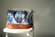 Hand Dyed Canvas and Leather Bag in Blue and by marchandcraft, $89.00