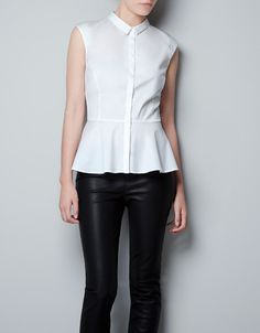 Perfect layer under jackets POPLIN SHIRT WITH PEPLUM FRILL - Shirts - Woman - ZARA