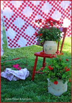 Old Quilt And Prim Needfuls...filled with plants. Aiken House Gardens.