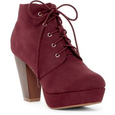 ANNA Footwear Goldie Platform Bootie (56 BAM) ❤ liked on Polyvore featuring shoes, boots, ankle booties, wine, bootie boots, lace up ankle booties, short lace up boots, stacked heel booties and ankle boots