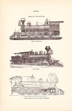 1892 Technical Drawing  Train Locomotives  Antique