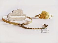 "petites choses: Bracelet en cuir ""cloud"" or …"