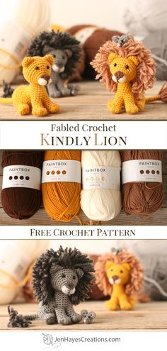 Looking for a small project?!! The Kindly Lion and Mouse crochet duo are the answer! The Lion measures approximately 3 inches tall (7.6 cm) not including his mane and the Mouse measures a super small 5/8 inch (1.6 cm). Get your hook ready! #crochetlion #crochetmouse #freecrochetpattern #paintboxyarns Crochet Animal Amigurumi, Crochet Lion, Crochet Mouse, Crochet Animal Patterns, All Free Crochet, Crochet Doll Pattern, Stuffed Animal Patterns, Cute Crochet, Amigurumi Patterns