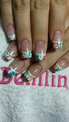 Floral and Colored French tips mani Easter Nail Designs, Pretty Nail Designs, Nail Designs Spring, French Nail Designs, Fingernail Designs, Acrylic Nail Designs, Nail Art Designs, Funky Nails, Trendy Nails