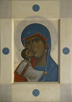 The Mother of God of Tenderness, 2015 in Icons of the Mother of God,by iconographers Philip Davydov and Olga Shalamova Renaissance Portraits, Renaissance Art, Religious Icons, Religious Art, Mother Mary, Mother And Child, Simple Icon, Blessed, Orthodox Icons