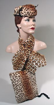 1950s Faux Leopard Hat, Scarf and Muff Set