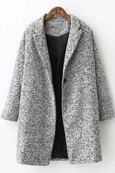 Pure Color Woolen Turn-Down Collar Long Sleeves Coat