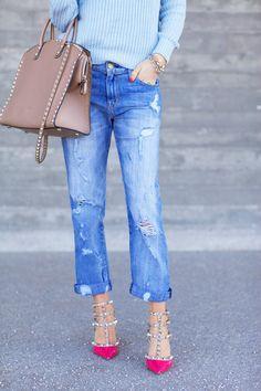 pink valentino rockstuds + boyfriend jeans