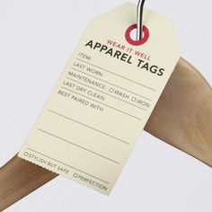 A set of apparel tags to keep track of when you last wore something and what looks best with it.