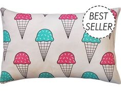 Bright Mint and Raspberry ice cream pillow case (1)