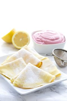 Delicious low carb, sugar-free Mother's Day Brunch recipe. Lemony crepes with raspberry cream cheese.